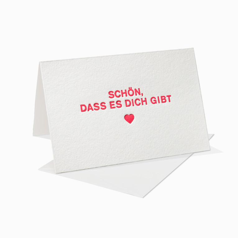 Letterpress Grußkarten / Klappkarte / Liebe / Love / Frau / Mann / Schön, dass es Dich gibt / Herz
