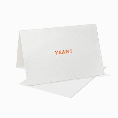 Letterpress Klappkarte / Grußkarte - Yeah