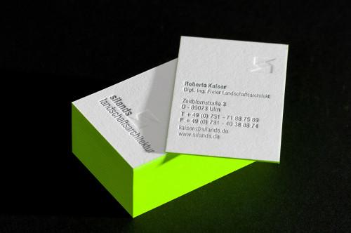 Paul Dieter Letterpress - Visitenkarten - Farbschnitt grün / Büttenpapier / Cotton