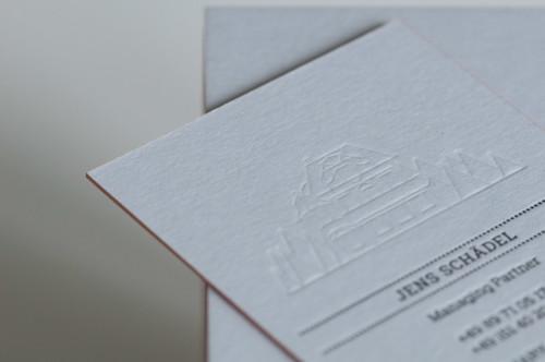 Paul Dieter Letterpress - Visitenkarten - Farbschnitt Bronze / Papier Colorplan grau
