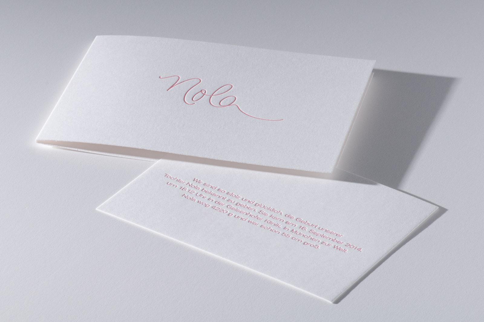 Letterpress Einladung Geburtskarte Prägung Paul Dieter
