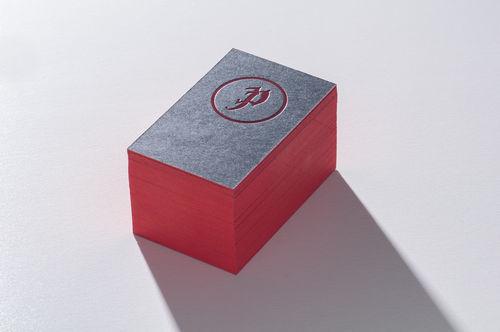 Paul Dieter Letterpress - Visitenkarten - Farbschnitt - Rot