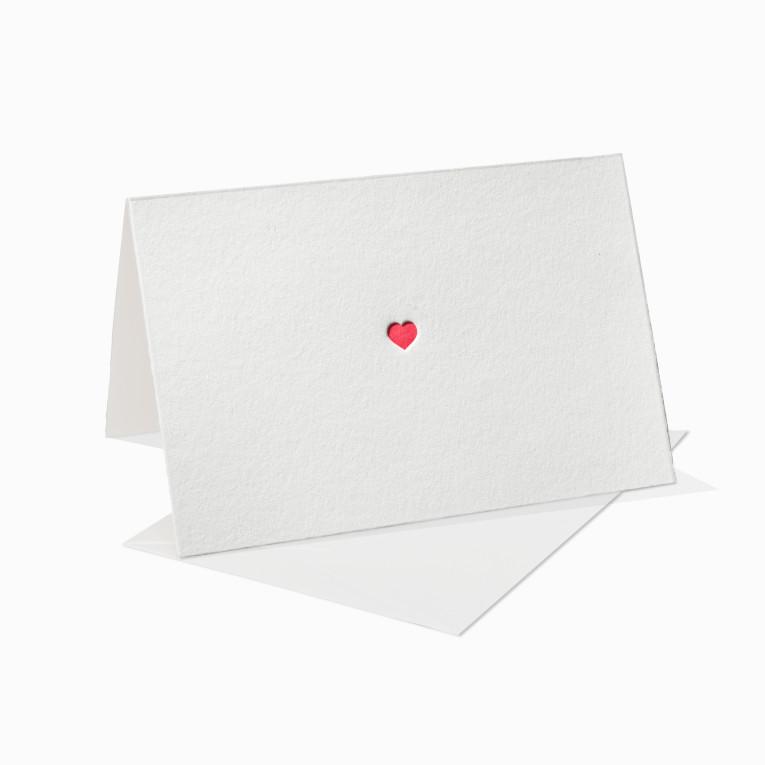 Letterpress Grußkarten / Klappkarte / Liebe / Love / Herz / Rot