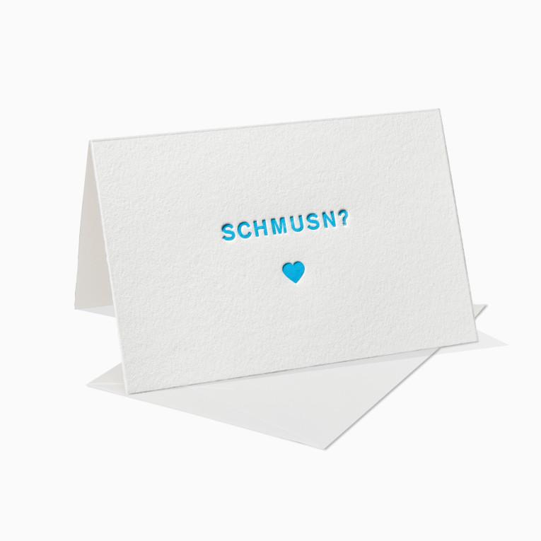 Letterpress Grußkarten / Klappkarte / Schmusn / Bayern / Bayrisch / Küssen / Kuss