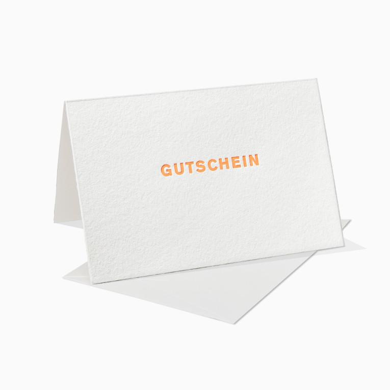 Letterpress Grußkarten / Klappkarte / Gutschein / Neon