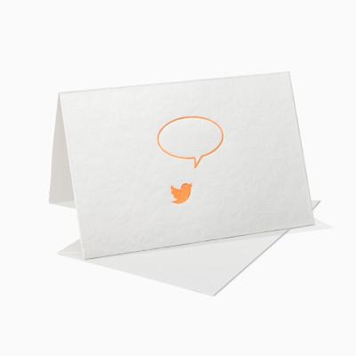 Letterpress Klappkarte / Grußkarte - Sprechblase Vogel