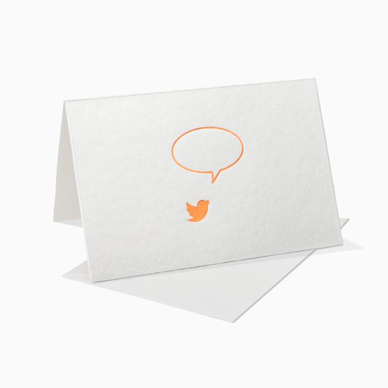 Letterpress Grußkarten / Klappkarte / Sprechblase / Vogel / Neon