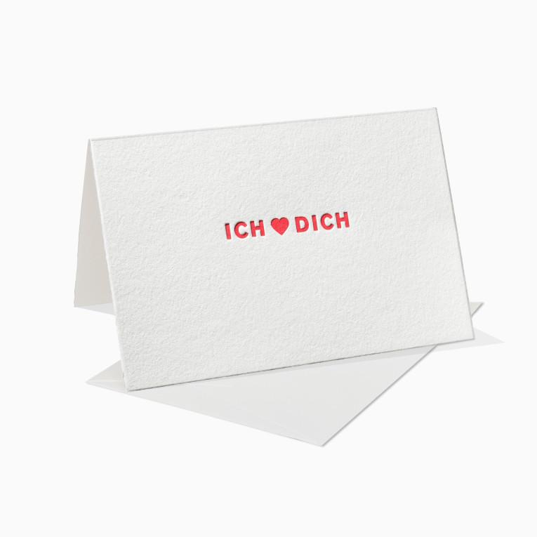 Letterpress Grußkarten / Klappkarte / Ich liebe Dich / Herz / Rot / Love