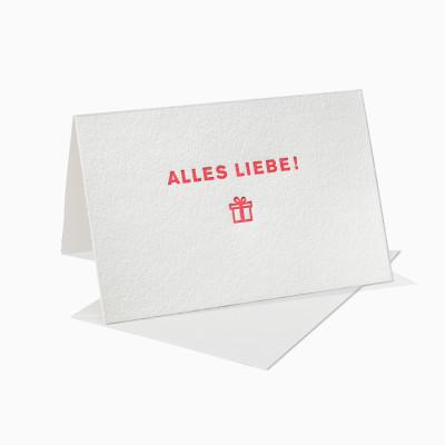 Letterpress Klappkarte / Grußkarte / Karte - Alles Liebe