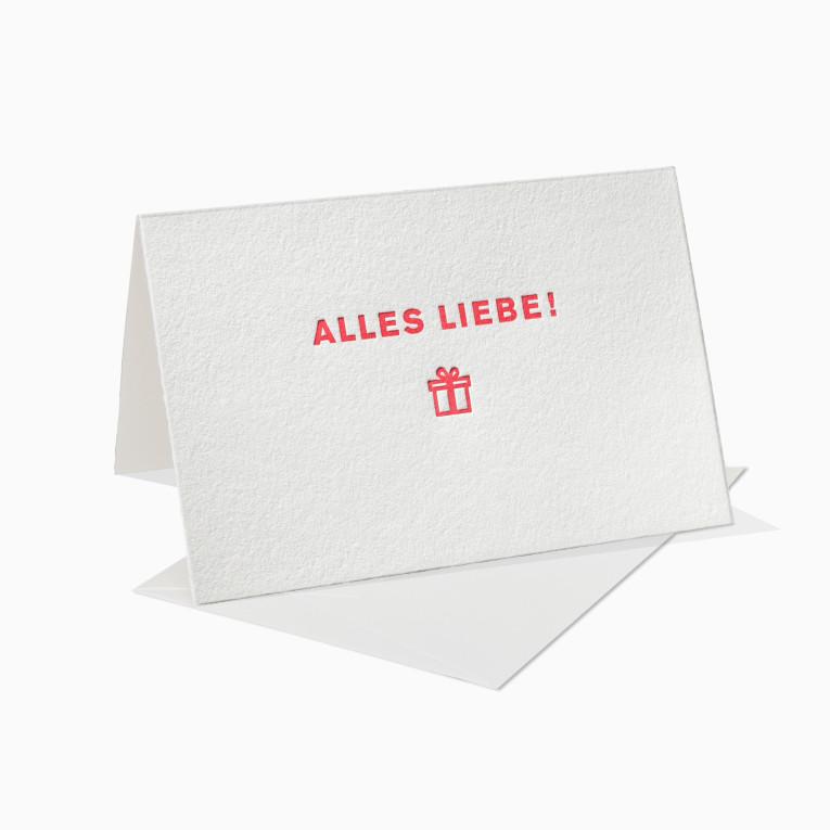 Letterpress Grußkarten / Klappkarte / Alles Liebe / Geschenk / Weihnachten / Geburtstag