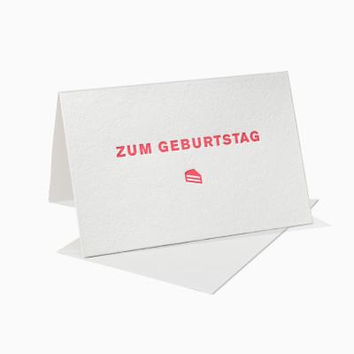 Letterpress Klappkarte / Grußkarte - Zum Geburtstag - Kuchen - Rot