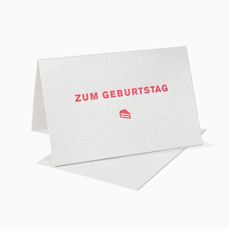 Letterpress Grußkarten / Klappkarte / Zum Geburtstag / Kuchen / Geschenk / Geburtstagskarte