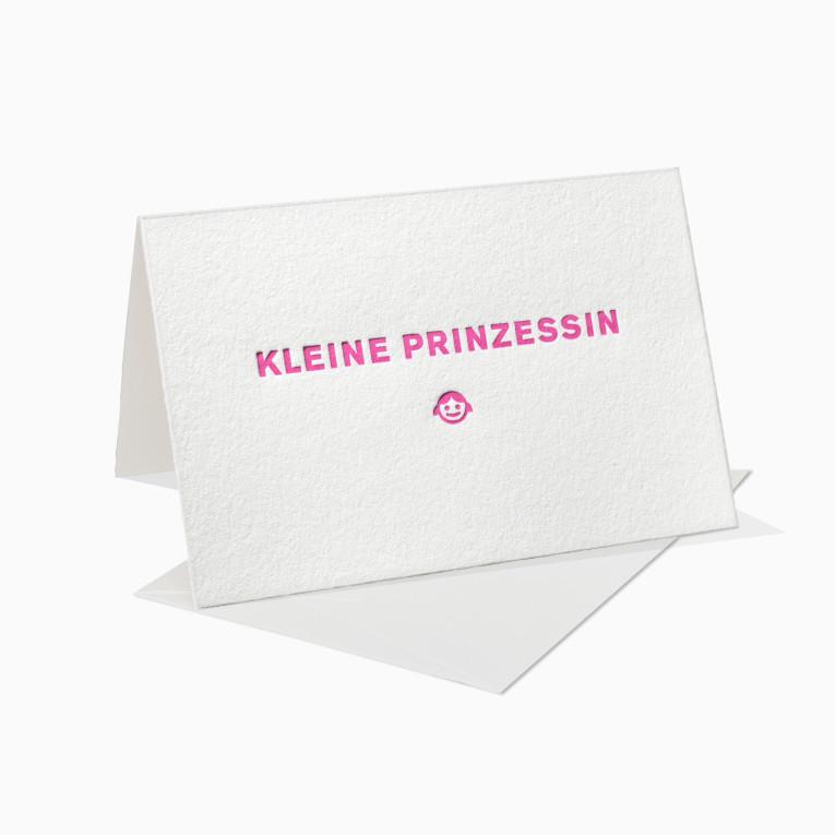 Letterpress Grußkarten / Klappkarte / Kleine Prinzessin / Geburtstag / Geburt / Mädchen  / Kind
