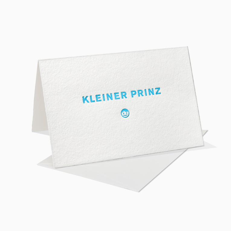 Letterpress Grußkarten / Klappkarte / Geburtstag / Geburt / Kleiner Prinz / Junge