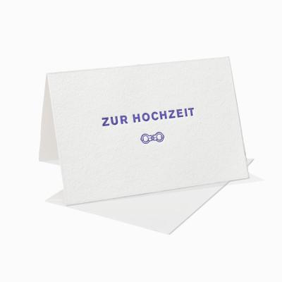 Letterpress Klappkarte / Grußkarte / Karte - Zur Hochzeit - Handschellen