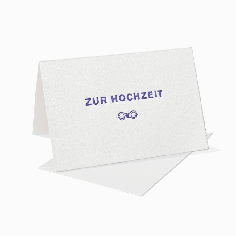 Letterpress Grußkarten / Klappkarte / Fun / Handschellen / Ironisch / Lustig