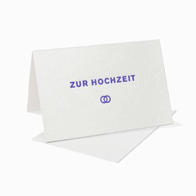 Letterpress Klappkarte / Grußkarte / Karte - Zur Hochzeit - Eheringe