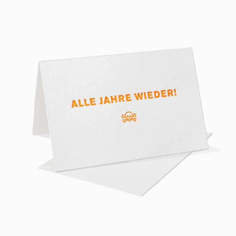 Letterpress Grußkarte / Klappkarte / Alle Jahre wieder / Totenkopf