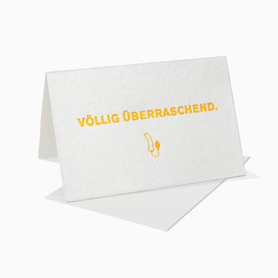 Letterpress Klappkarte / Grußkarte / Karte - Völlig überraschend Dildo