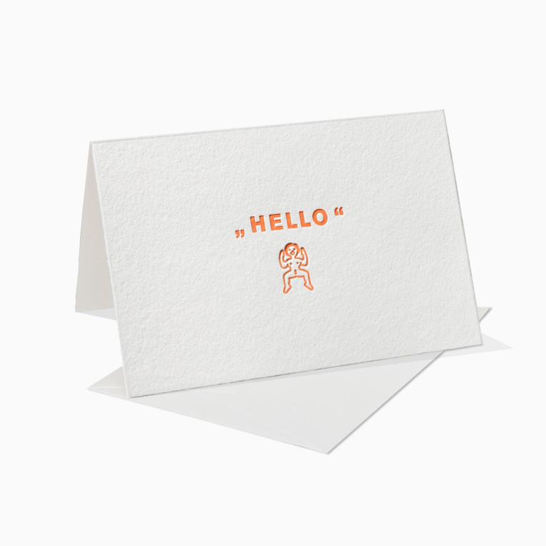 Letterpress Grußkarten / Klappkarte / Hello / Sexpuppe / Sex / Liebe / Fun