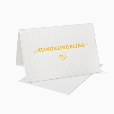 Letterpress Klappkarte / Grußkarte / Karte - Klingelingeling Unterhose