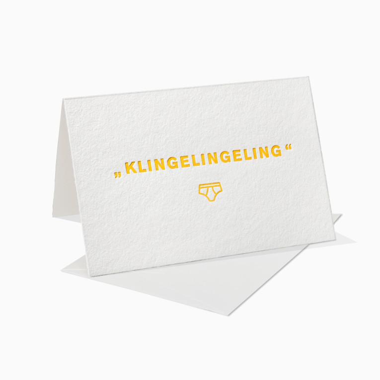Letterpress Grußkarten / Klappkarte / Klingelingeling / Unterhose / Mann / Fun