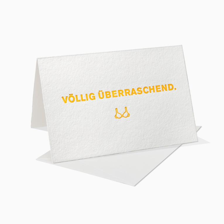 Letterpress Grußkarten / Klappkarte / Völlig überraschend / BH / Lustig / Fun