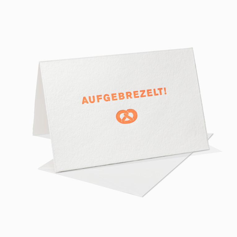 Letterpress Grußkarte / Klappkarte / Aufgebrezelt / Bayrisch / Bayern