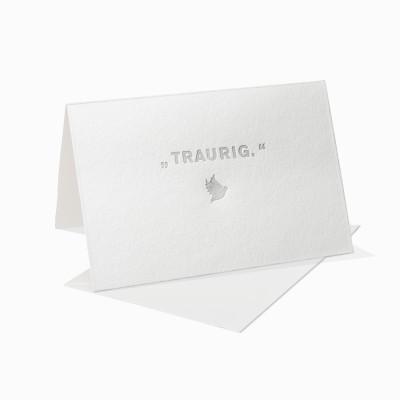 Letterpress Klappkarte / Grußkarte / Karte - Aufgebrezelt - Traurig - Friedenstaube - Kondolenzkarte
