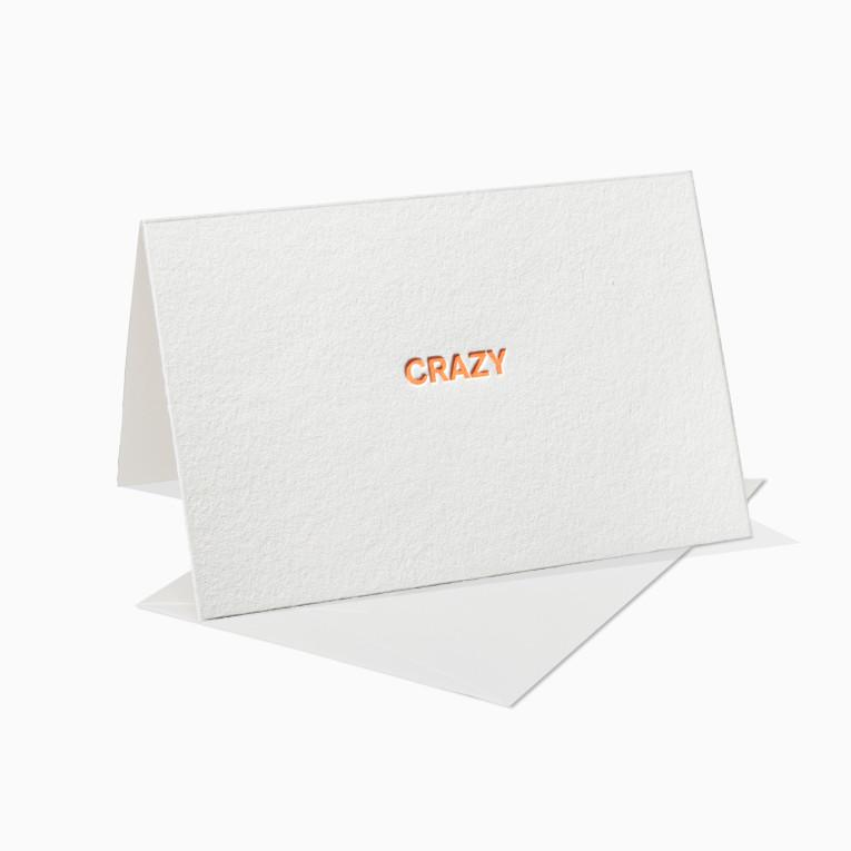 Letterpress Grußkarten / Klappkarte / Crazy / Fun / Lustig