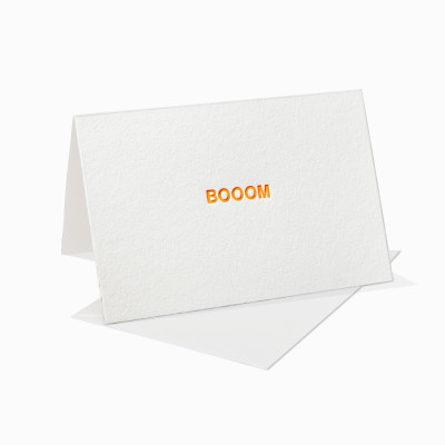Letterpress Klappkarte / Grußkarte / Karte - Boom - Neon
