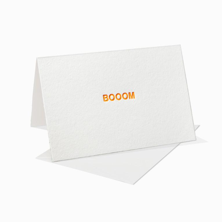 Letterpress Grußkarte / Klappkarte / Boom / Neon