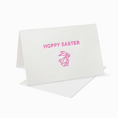 Letterpress Klappkarte / Grußkarte / Karte - Hoppy Easter - Osterhase - Ostern - Neon - Origami
