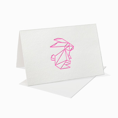 Letterpress Klappkarte / Grußkarte / Karte - Osterhase - Ostern - Neon - Origami