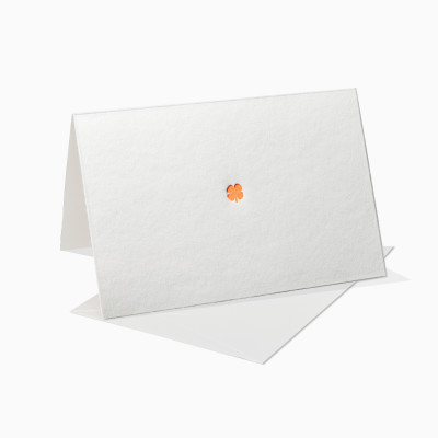 Letterpress Klappkarte / Grußkarte / Karte - Glücksklee - Neon