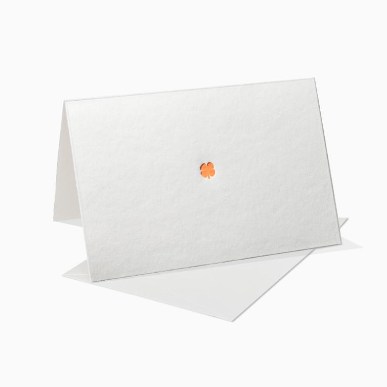 Letterpress Grußkarte / Klappkarte / Glücksklee / Klee