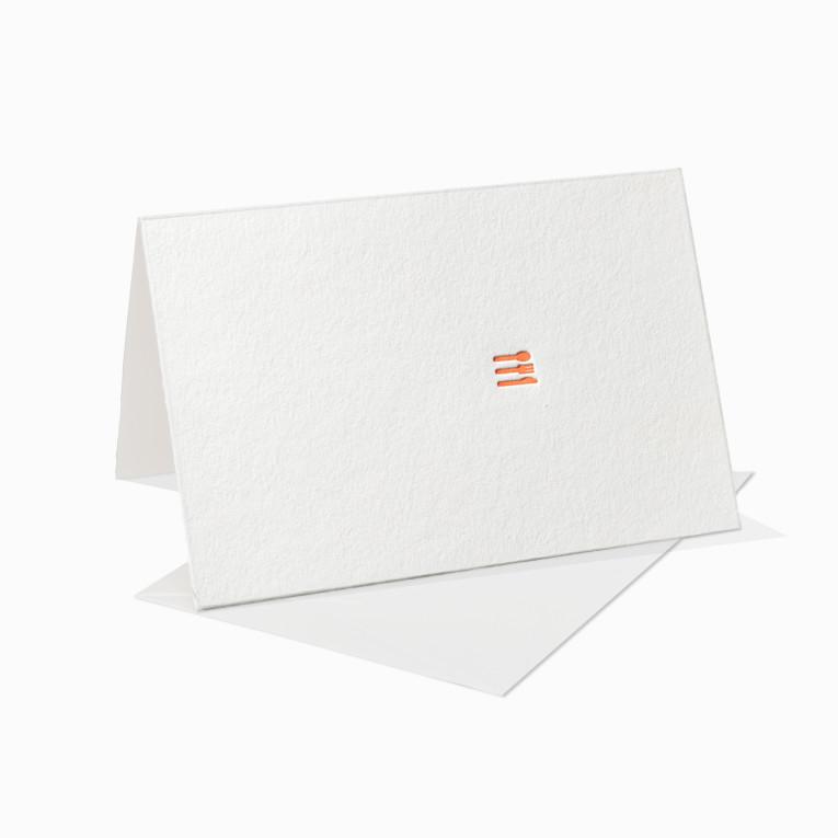 Letterpress Grußkarte / Klappkarte / Menükarte / Essen / Einladung / Party / Besteck / Messer / Gabel / Löffel