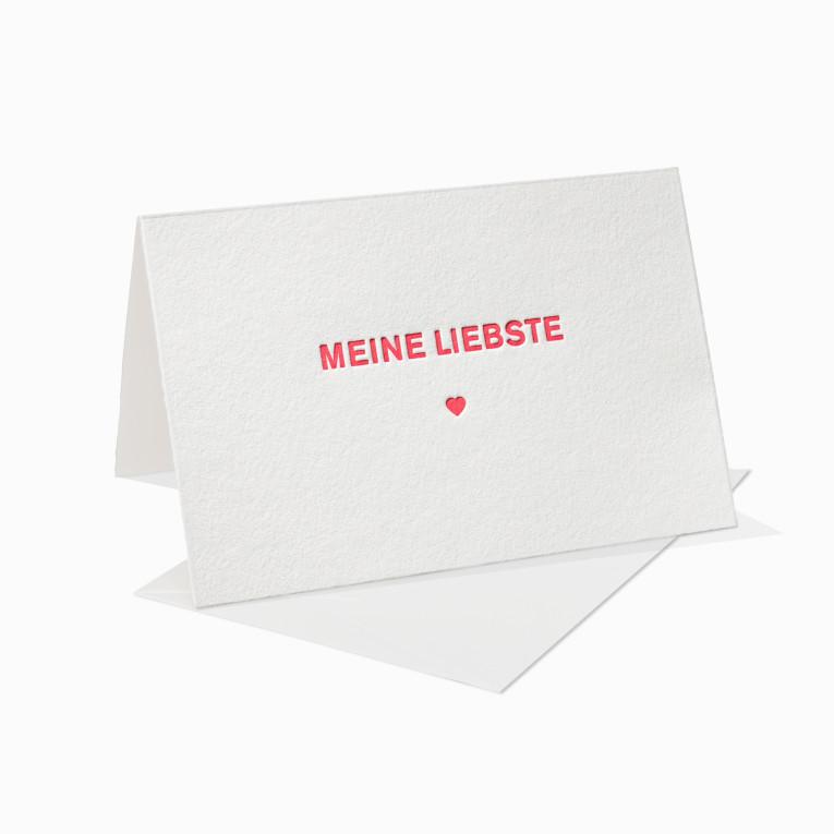 Letterpress Grußkarte / Klappkarte / Meine Liebste / Herz / Liebe