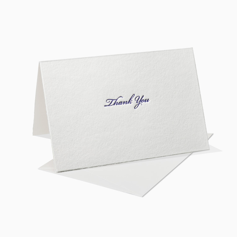 Letterpress Grußkarte / Klappkarte / Thank You Schreibschrift