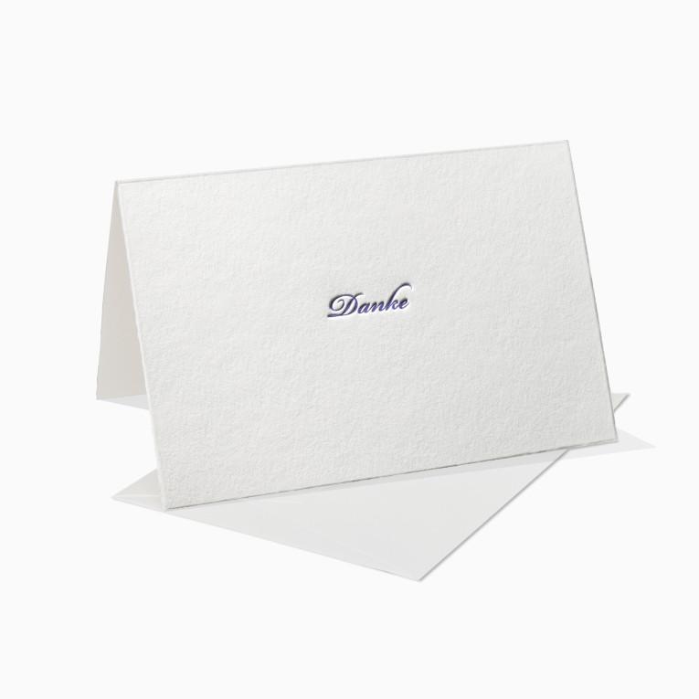 Letterpress Grußkarte / Klappkarte / Danke Schreibschrift
