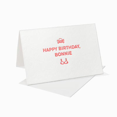 Letterpress Klappkarte / Grußkarte / Karte - Happy Birthday Bonnie - BH