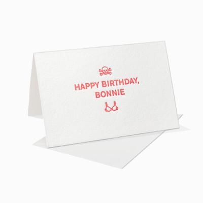 Letterpress Klappkarte / Grußkarte / Karte - Happy Birthday Bonnie - BH