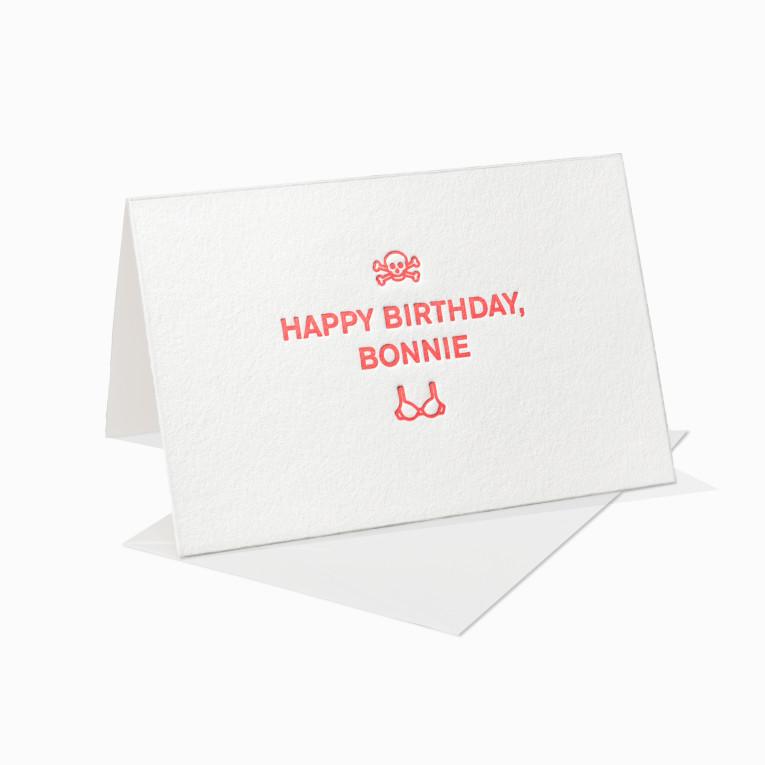 Letterpress Grußkarte / Klappkarte / Happy Birthday Bonnie / Totenkopf / BH / Liebe / Geburtstag