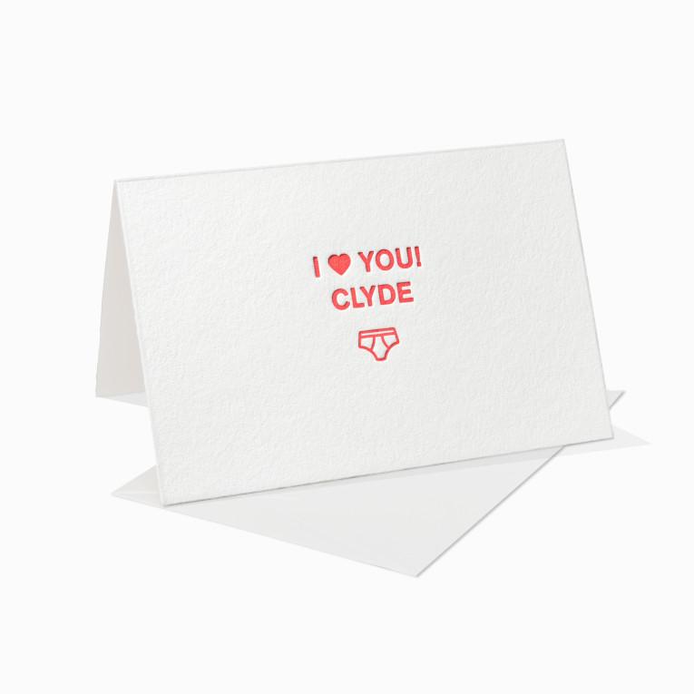Letterpress Grußkarte / Klappkarte / I Love You / Ich liebe Dich – Clyde