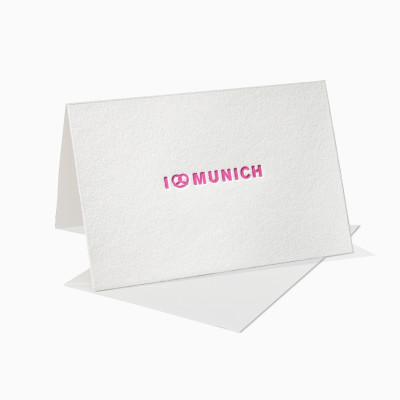 Letterpress Klappkarte / Grußkarte - i Love Munich / München