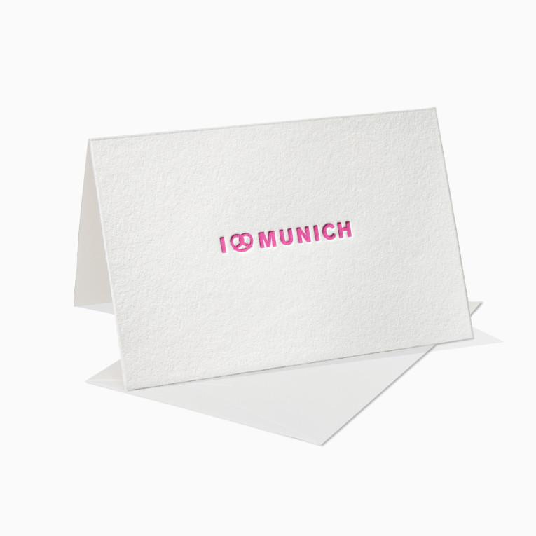 Letterpress Grußkarten / Klappkarte / I Love Munich / München / Breze / Brezel
