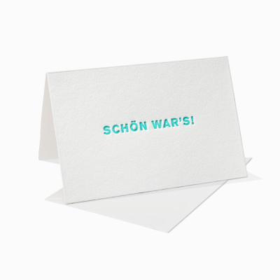 Letterpress Klappkarte / Grußkarte / Karte - Schön war's