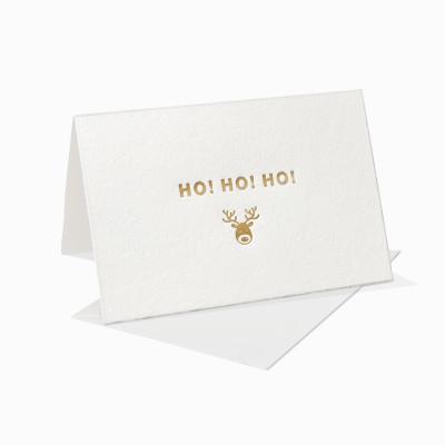 Letterpress Klappkarte / Grußkarte / Karte - Ho Ho Ho - Rehntier - Weihnachten