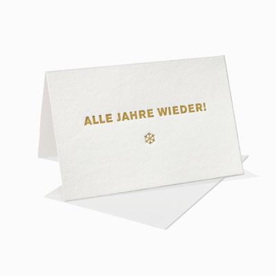 Letterpress Klappkarte / Grußkarte / Karte - Alle Jahre wieder - Schneeflocke - Weihnachten
