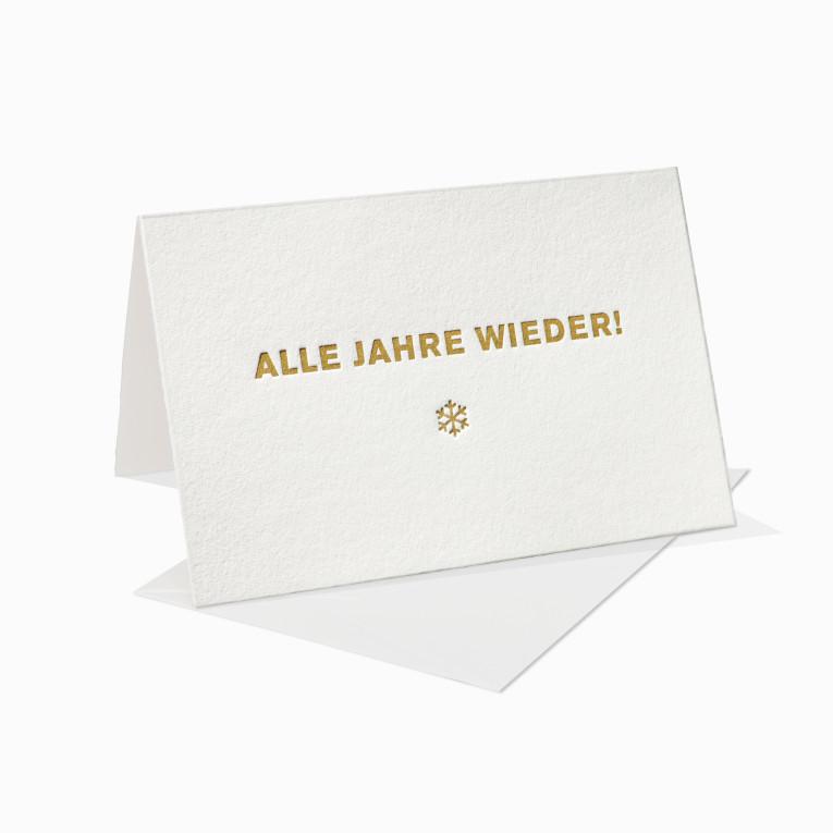 Letterpress Grußkarte / Klappkarte / Alle Jahre wieder